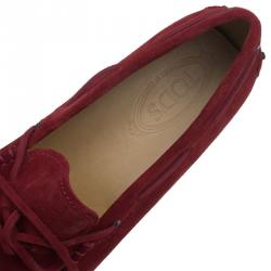 Tod's Red Suede Bow Loafers Size 44