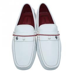 Tod's for Ferrari White Leather Striped Loafers Size 42.5