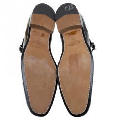 Tod's Black Patent Monk Strap Shoes Size 42