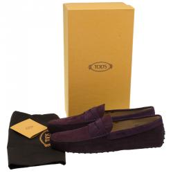 Tod's Purple Shaded Suede and Leather Penny Loafers Size 44.5