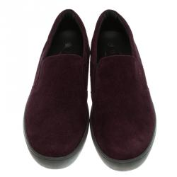 Tod's Purple Suede Slip On Sneakers Size 44