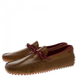 Tod's For Ferrari Brown Leather Bow Loafers Size 44.5