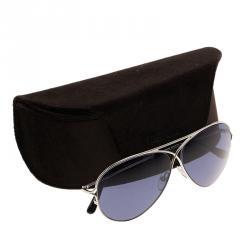 Tom Ford Silver Peter Aviators Sunglasses