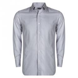 813cf1c2f4440 قميص توم فورد أزرار أمامية أكمام طويلة قطن منقوش بنفسجي فاتح M
