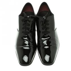 Tom Ford Black Patent Leather Gianni Evening Lace Up Oxfords Size 42