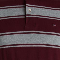 Tommy Hilfiger Red And Grey Striped Custom Fit Polo T- Shirt M