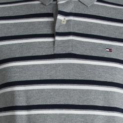 Tommy Hilfiger Grey and Navy Blue Striped Custom Fit Polo T-Shirt S