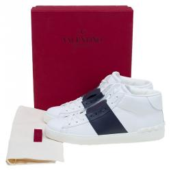 Valentino Two Tone Leather Open High Top Sneakers Size 41
