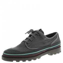 Valentino Grey Eyelet Embroidered Fabric Low-Top Sneakers Size 44