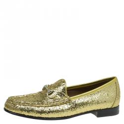 514ee84a051 Gucci Gold Glitter Fabric and Leather Horsebit Loafers Size 37.5