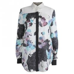 266be0f24f567 3.1 Phillip Lim Floral Printed Silk Sheer Yoke Detail Shirt S