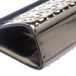 Alaia Metallic Grey Laser Cut Patent Leather Clutch