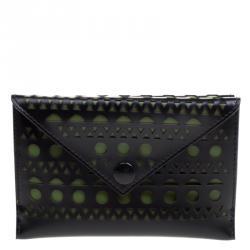 Alaia Black/Green Laser Cut Leather Mini Double Envelope Clutch