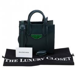 Balenciaga Dark Green Leather Mini All Afternoon Tote