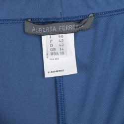 Alberta Ferretti Blue Knit Elasticized Waist Wide Leg Pants L