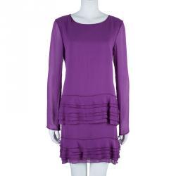 Alberta Ferretti Purple Tiered Silk Dress M
