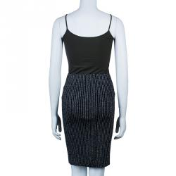 Alberta Ferretti Black Metallic Ribbed Skirt S