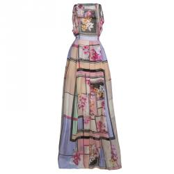 Alberta Ferretti Multicolor Floral Print Sheer Back Detail Sleeveless Gown M