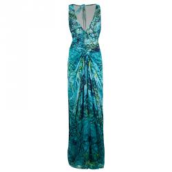 Alberta Ferretti Turquoise Printed Mesh Insert Ruched Sleeveless Gown L