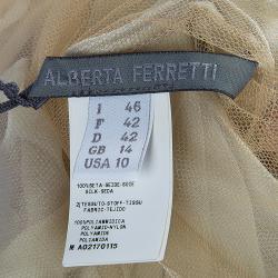 Alberta Ferretti Beige Contrast Leaf Embroidered Draped Sleeveless Blouse M
