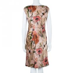 Alberta Ferretti Floral Print Silk Sleeveless Dress M