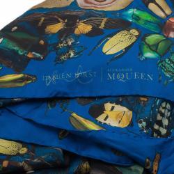 Alexander McQueen Blue Bugs Print Square Scarf