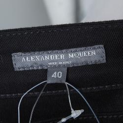 Alexander McQueen Black Denim Side Zip Detail Jeans S