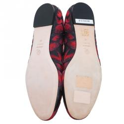 Alexander McQueen Red Tulip Embroidered Ballet Flats Size 41