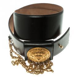 Alexander McQueen Black Leather Medallion Waist Belt 80 CM