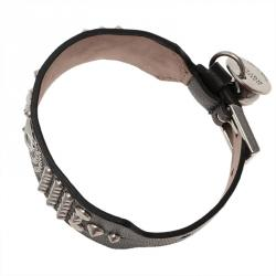 Alexander McQueen Skull Black Leather Stud Bracelet