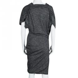 Alexander McQueen Grey Marled Knit Draped Asymmetric Dress S