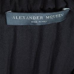 Alexander McQueen Black Gathered Waist Long Sleeve Dress S