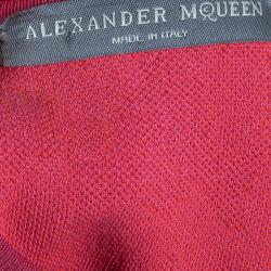 Alexander McQueen Pink and Red Leopard Print Pencil Dress XS