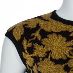 Alexander McQueen Black Floral Pattern Knit Sleeveless Bodycon Dress S