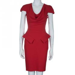 Alexander McQueen Red Cowl Neck Cap Sleeve Dress XS