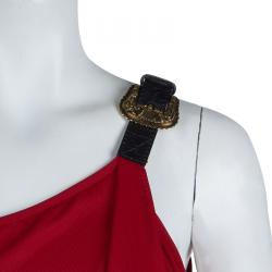 Alexander McQueen Red One Shoulder Buckle Detail Dress S