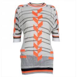 Alexander Wang Off White Knit Neon Colorblock Detail Sheer Top M