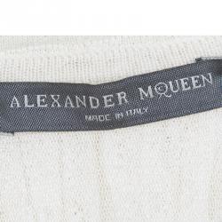 Alexander McQueen Cream Knit Ruffle Detail Tiered Sleeveless Dress XXS