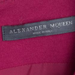 Alexander McQueen Red Dropped Waist Box Pleated Sleeveless Dress M