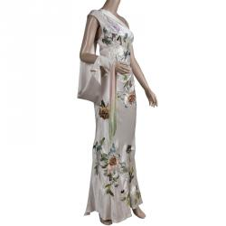 Alexander McQueen Beige Embroidered Silk One Shoulder Draped Sleeve Detail Gown S