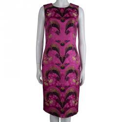 Alexander Mcqueen Pink Brocade Sleeveless Shift Dress M