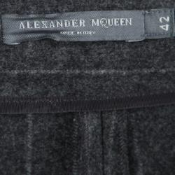 Alexander McQueen Grey Striped Wool Trousers M