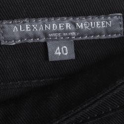 Alexander McQueen Black Denim Zip Trim Detail Skinny Jeans S