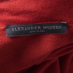 Alexander McQueen Red Knit Cowl Neck Dress XXS