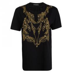Alexander McQueen Black Knit Gold Chain Embellished T-Shirt M