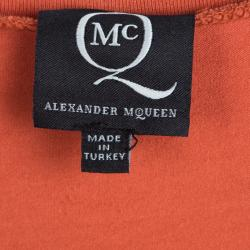 Alexander Mcqueen Orange Jersey Asymmetric Sleeveless T-Shirt Dress XL