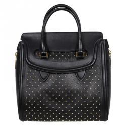 Alexander McQueen Black Leather Heroine Studded Satchel Bag