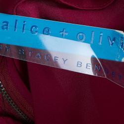 Alice + Olivia Burgundy Silk Pleated Sleeveless Top XS