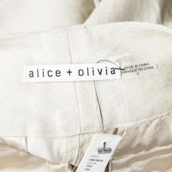 شورت أليس + أوليفيا كادي كتان بيج ميتاليك XS