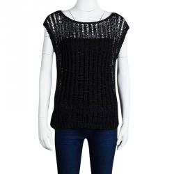 Alice + Olivia Black Chunky Crochet Knit Cap Sleeve Top S